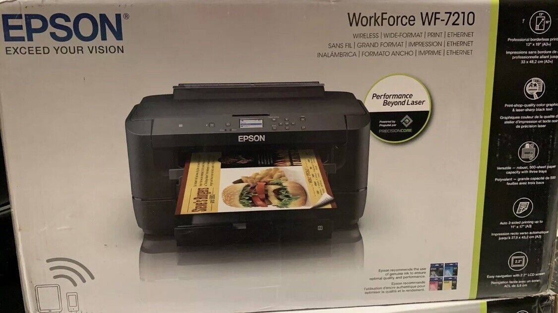 Epson WorkForce WF-7210 Wireless Wide Format Color Wi-Fi Direct Printer - NEW . Buy it now for 369.99