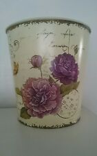 French Purple Green Floral Vintage Metal Waste Bin NEW