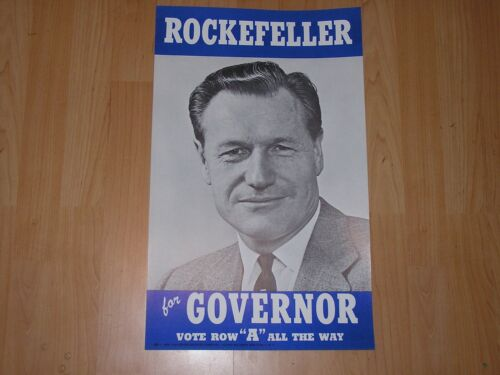 NOS Circa 1958-1960 Original Nelson Rockefeller For Governor Campaign Poster.