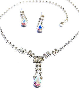 Austrian-Crystal-Rhinestone-Choker-Necklace-Earring-Set-Bridal-Pageant-Prom