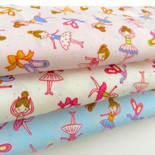 per 1//2 MT//  fat quarter ballet dancing fabric ballerinas   100/% cotton poplin *
