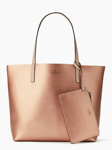 NWT-Kate-Spade-Mya-Reversible-Leather-Tote-Pouch-Rose-Gold-Lt-Beige-WKRU5543