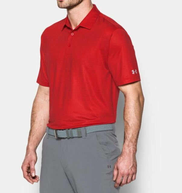 d4aa31dc0a NEW Men's Under Armour Playoff Crestable Tweed Polo 2XL Red Golf polo  Casual NWT