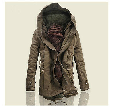 Hot Mens Jacket Hood zip hip length Cotton strip Coat parka Winter Warm Outwear