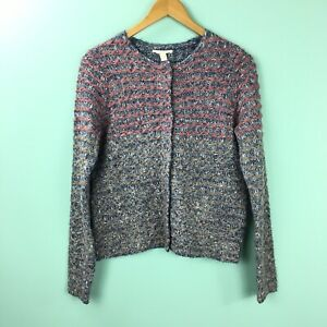 Details about Esprit Women's Small Woven Knit Sweater Jacket Pockets Multicolor Snap Buttons