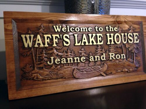 """11/"""" x 23/"""" Wood Carved Personalized Lake Home Sign With First and Last Names"""