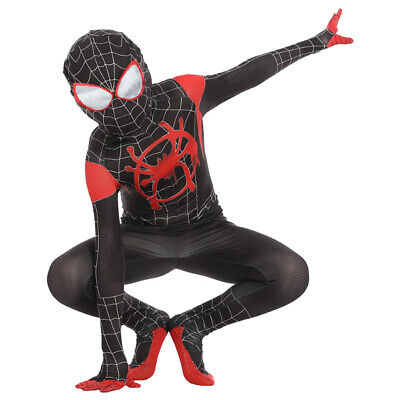 Into the Spider-Verse Miles Morales Kids Costume Jumpsuit Cosplay Spider-Man