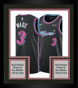 Framed-Dwyane-Wade-Miami-Heat-Autographed-Black-Nike-Vice-Nights-Swingman-Jersey