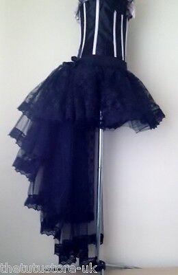 NEW Black Lace Burlesque Tutu Skirt Steam Punk Halloween Goth sizes XS S M L XL
