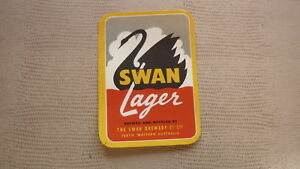 OLD-AUSTRALIAN-COLLECTABLE-BEER-LABEL-SWAN-BREWERY-PERTH-WA-SWAN-LAGER-SMALL