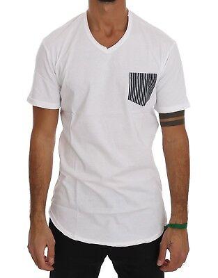XXL NEW $110 DANIELE ALESSANDRINI T-shirt White Cotton Crew-neck Chest Pocket s
