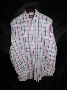 Nordstrom-18-36-Traditional-Fit-Blue-Pink-White-Plaid-Shirt-Mens-Shop-Smartcare