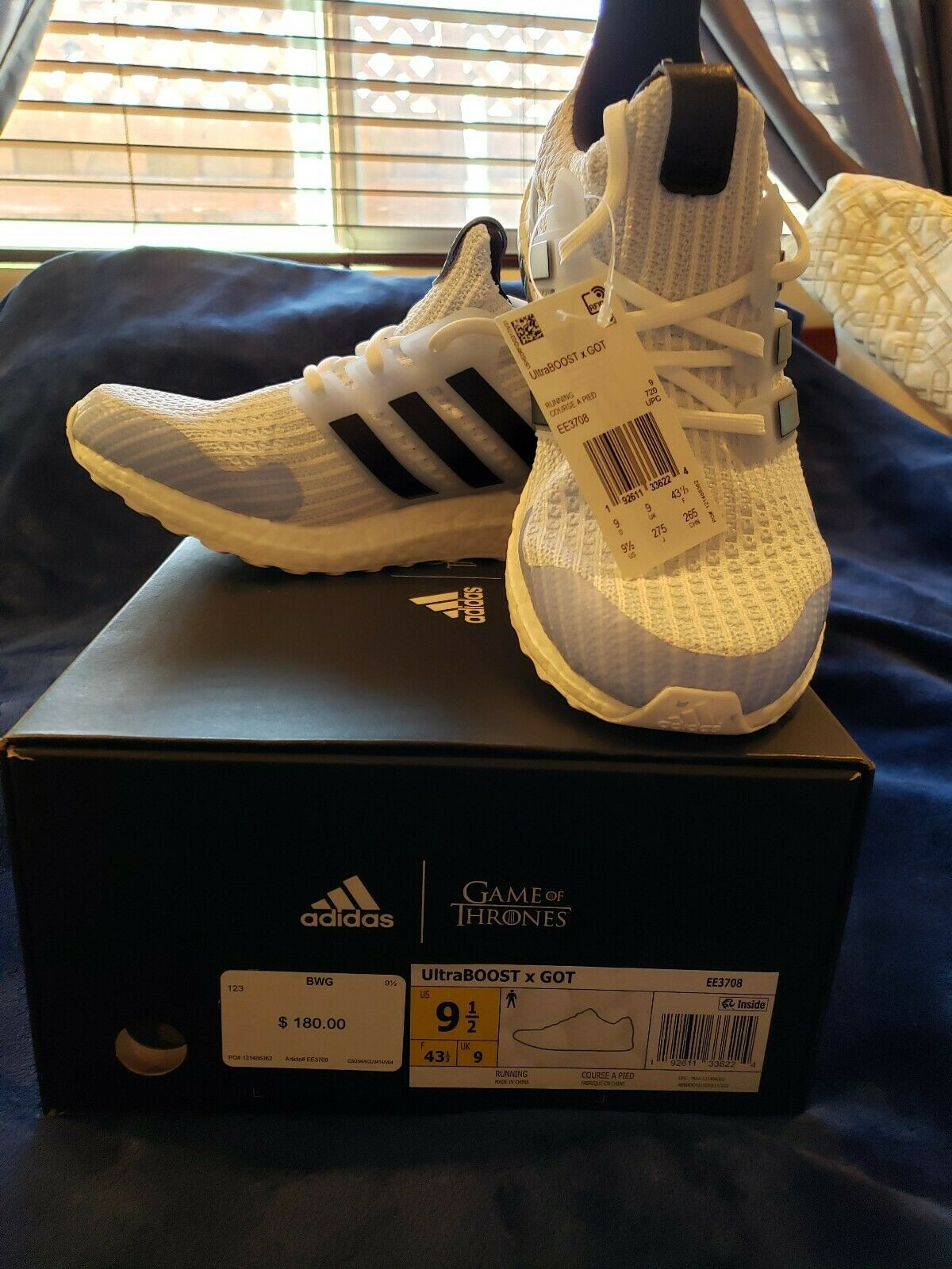 Adidas Ultra Boost 4.0 Game of Thrones White Walker Size 9.5 NEW with tags.