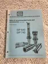 Sip Recommended Tools Amp Accessories Catalog For Sip 640 And Sip 740 Jig Borers