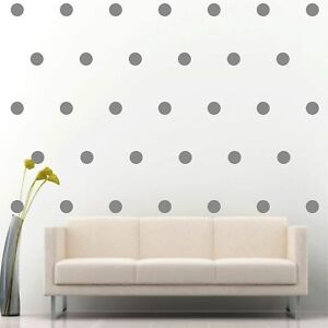 200-of-2-034-Silver-Polka-Dots-Circle-Peel-Stick-Removable-Wall-Vinyl-Decal-Sticker