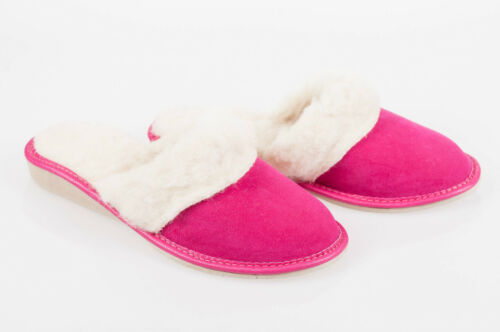 Women Pink 100/% Suede Leather Slippers Wool Shoes Size 3 4 5 6 7 8 Flip-Flop