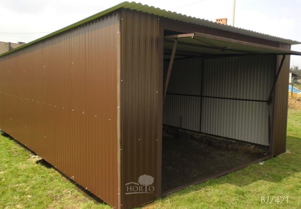 3.5 x 5.0 RAL 8017  Blechgarage Garage Fertiggarage Metallgarage Lagerhalle