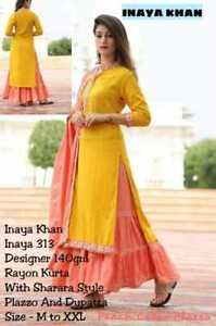 Indian Ethnic Flared Dress Pakistani Kameez /& Duppta Indian Kurti Palazzo Top