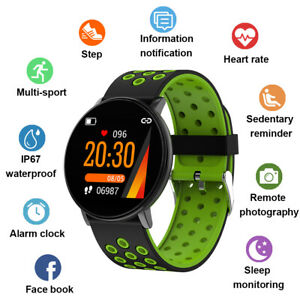IP67 Wasserdicht Smartwatch Sports Uhr Pulsuhr Blutdruck Fitness Tracker Armband