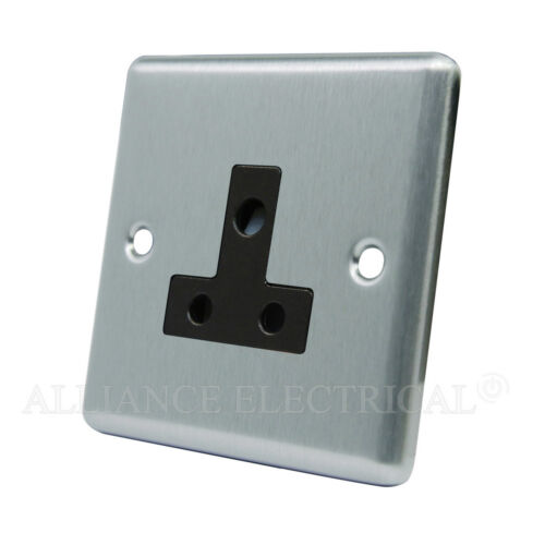 1 point de sortie lampe gang 2 AMP socket Satin chrome classique round pin 5 amp