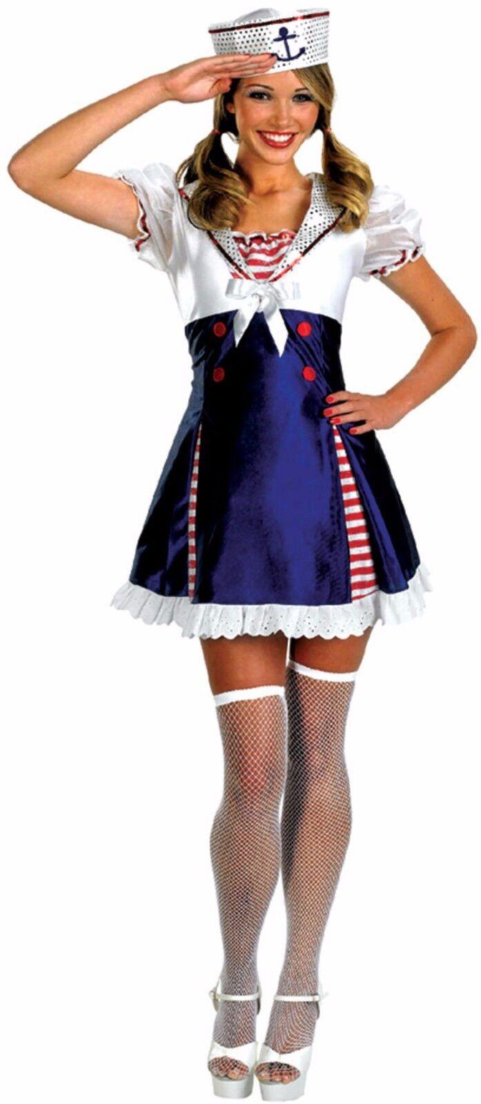 Ladies Blue Ahoy Matey Flirty Sailor Girl Nautical Fancy Dress Size Small 8-10