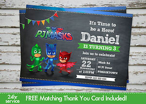 Pj Masks Birthday Party Invitation Printable With Free Matching