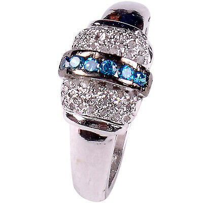 Jewelry & Watches Fine Rings Hard-Working Handmade Blue/natural Raw White Diamond 925 Sterling Silver Wedding Ring Size 7