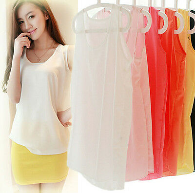 Stylish Womens Summer Vest Sleeveless Chiffon T-shirt multicolor  Bottoming NEW