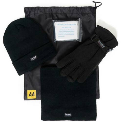 Mens Size Large 3M Pack Black Hat Neck Warmer Thinsulate Pair of Gloves