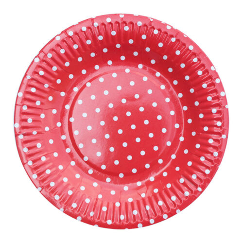 """7/"""" Cute Dot Round Paper Plates Disposable Tableware Birthday Room Decor 10Pcs"""
