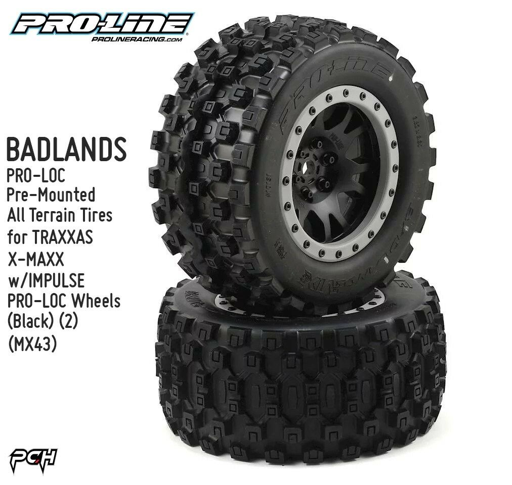 PRO-LINE BADLANDS MX43 PRO-LOC Pre-Mounted All Terrain Tires for X-MAXX 1013113