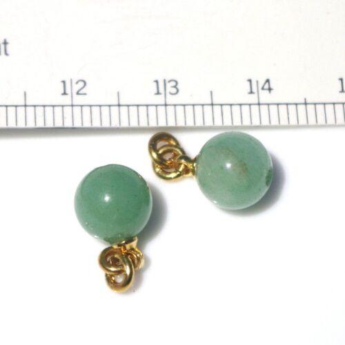 VINTAGE GORGEOUS 14K GF 6.5 MM UNDYED GREEN PETITE JADE JADEITE EARRINGS JACKETS