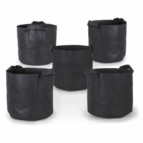 Confezione da 5 x 1-10 Gallone crescere Borse AERAZIONE tessuto vasi piante da giardino Nero Maniglie