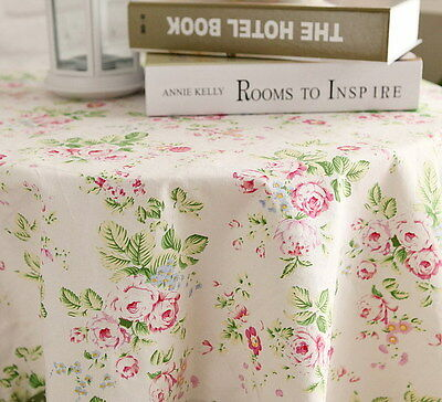 Shabby Chic Country Cottage Red Green Floral on White Tablecloth Cotton Linen