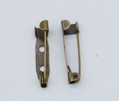 50 Gold silver plated bronze brooch blank pins clasp jewelry findings 20//25//30mm