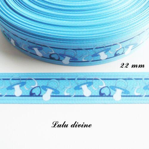 Ruban gros grain bleu Tétine Tutute Sucette de 22 mm vendu au mètre