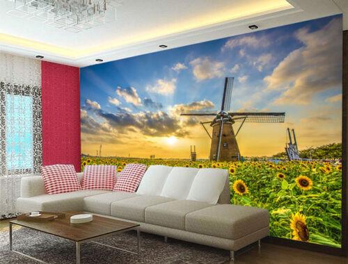 Windmill Farms Sunflower Field 3D Full Wall Mural Photo Wallpaper Printed Decor