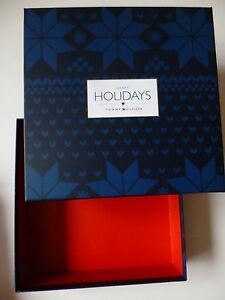 Image is loading Tommy-Hilfiger-designer-christmas-gift-box-blue-snowflakes- 98adfb45011c