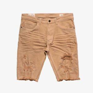 Smoke-Rise-Khaki-Rip-and-Repair-Twill-Shorts