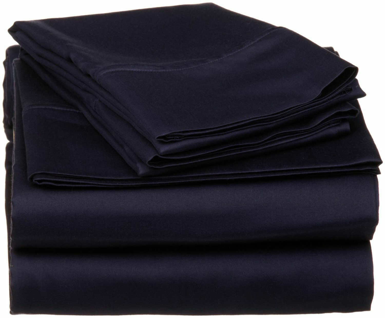 Water Bed Sheet Set 100%Egyptian Cotton 1000 Thread Count Navy blueeeee Solid