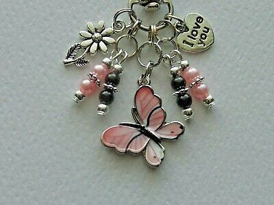 PINK BUTTERFLY LOVE YOU FLOWER  KEY CHAIN CLIP FOR PURSE FOB BACKPACK BAG DANGLE