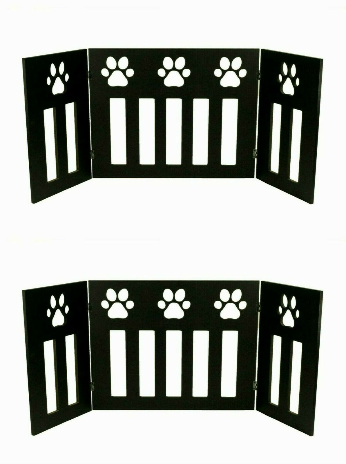 2 Pet Dog Gate Free Standing 48  Wide 19 Tall Tri Three Panel Wooden Paw Safety