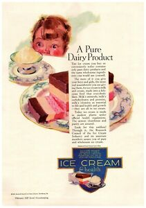 1927 Ice Cream Council Vintage Print Ad A Pure Dairy Product For Health
