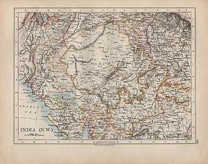 1900 Victorian Map India North West Bombay Rajputana Bundelkhand