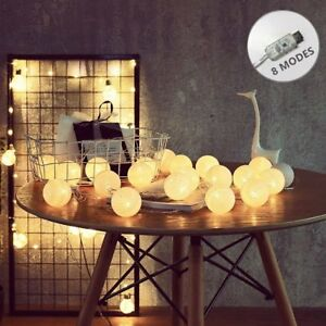 20-LED-Cotton-Ball-Lichterkette-8-Modi-der-Lumineszenz-USB-String-Licht-Warmweiss