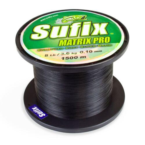 0,03€//m Sufix Matrix Pro black Braid rund geflochtene Angelschnur 0,10mm 3,6kg