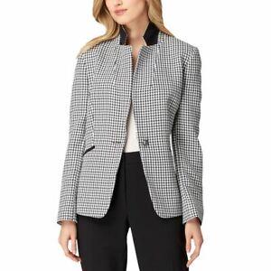 TAHARI-ASL-NEW-Women-039-s-Navy-white-Textured-One-button-Blazer-Jacket-Top-6-TEDO