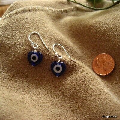 1 Paar Ohrhänger in 925er Silber mit Herz Glücksauge, Glas Nazar: ca. 10 mm, NEU