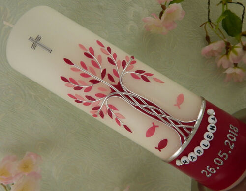 Taufkerze Lebensbaum rosa rot silber Taufkerzen Mädchen mit Name und Datum