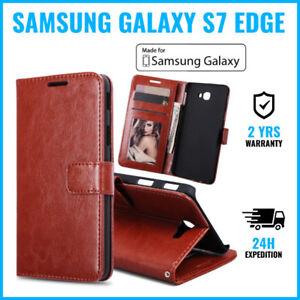 Wallet-Flip-Case-Cover-Cas-Coque-Etui-Hoesje-Brown-For-Samsung-Galaxy-S7-Edge